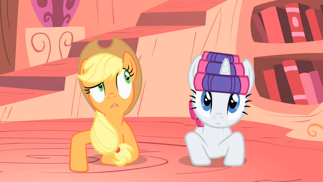 File:Applejack making a bizarre guess S1E08.png