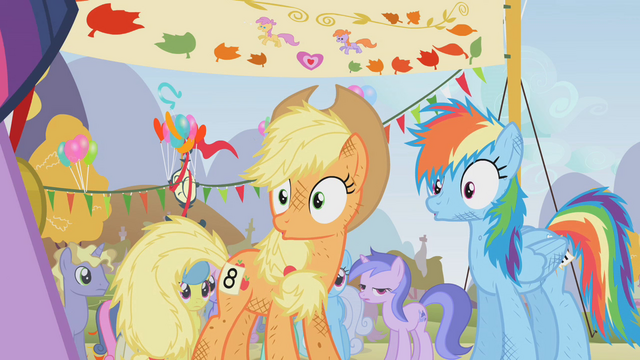 File:Applejack and Rainbow Dash surprised S01E13.png
