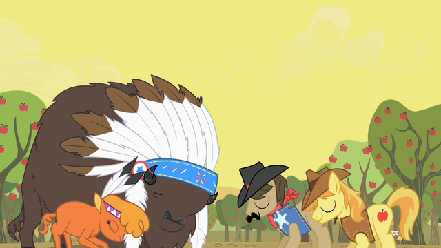 File:Buffalos and ponies agree to peace S1E21.png