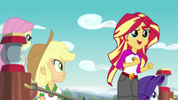 Applejack and Rarity see Sunset Shimmer singing EG4