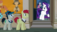 Rarity looking at long line of ponies S6E9