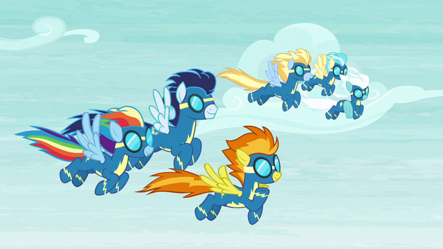 File:The Wonderbolts pleased with their performance S6E7.png