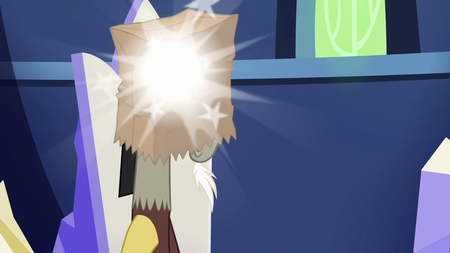 File:Discord poofs a paper bag onto his head S6E17.png