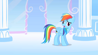 Rainbow Dash about to pull off Derpy's sticker S1E16