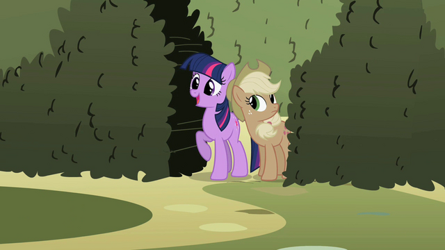 File:Twilight and Applejack at the entrance S2E01.png