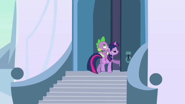 File:Twilight and Spike heading inside the castle S3E2.png