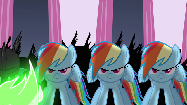 File:Changelings disguised as Rainbow Dash S2E26.png