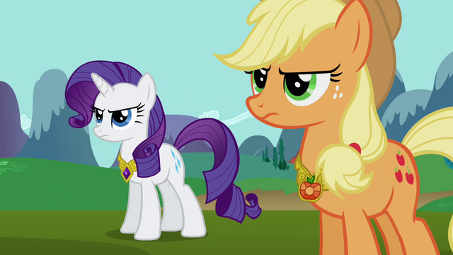 File:Rarity and Applejack wearing Elements S03E10.png