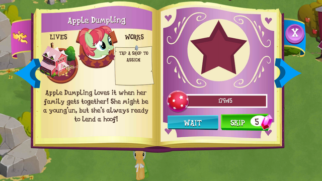 File:Apple Dumpling album page MLP mobile game.png