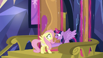 Twilight excitedly greeting Fluttershy S5E23