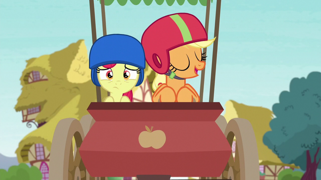 File:Applejack and Apple Bloom coasting on through S6E14.png