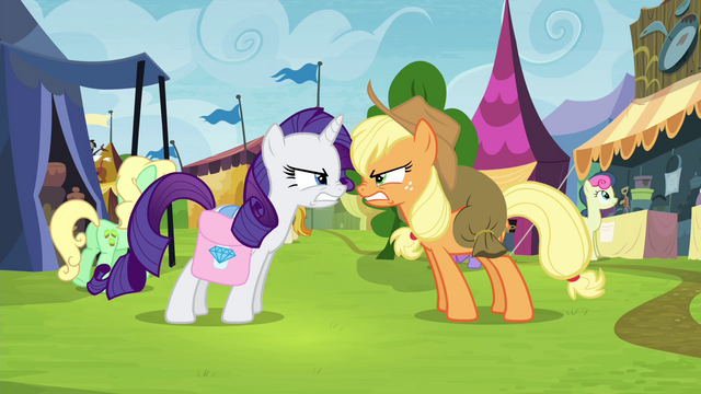 File:Applejack and Rarity growling at each other S4E22.png