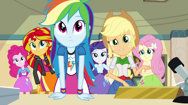 "File:Applejack questioning ""the Dazzlings?"" EG2.png"