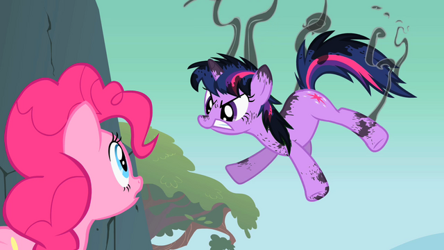 File:Singed Twilight Sparkle with Pinkie onlooking S1E15.png