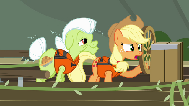 File:Applejack and Granny Smith on the raft S4E09.png
