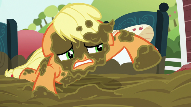 File:Applejack covered in mud S6E15.png