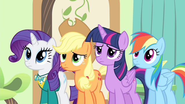 File:Fluttershy's friends see Fluttershy crying S4E14.png
