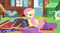 Fluttershy packing a saddlebag S6E17