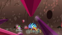 Spike and Ember slide under crystal spires S6E5