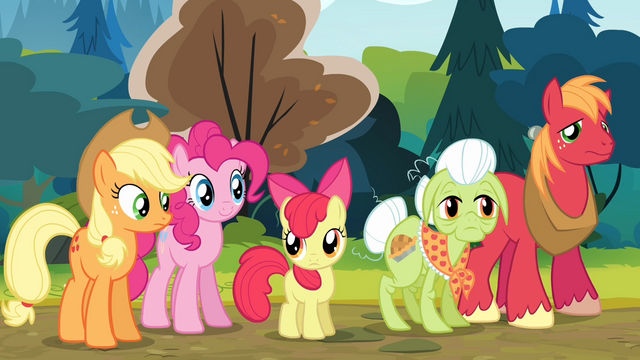 File:The Apples and Pinkie looking at Goldie S4E09.png