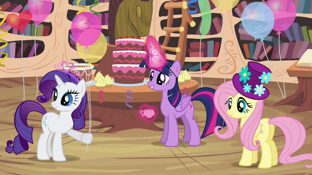 File:Twilight and friends in party hats S4E04.png