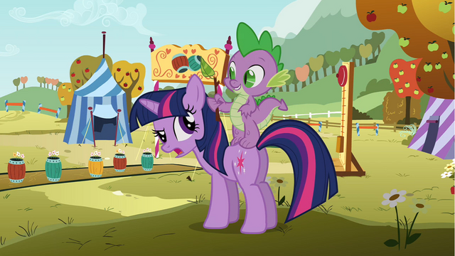 File:Spike standing on Twilight's back S1E13.png