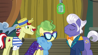Flam and Impossibly smiling at Gladmane S6E20