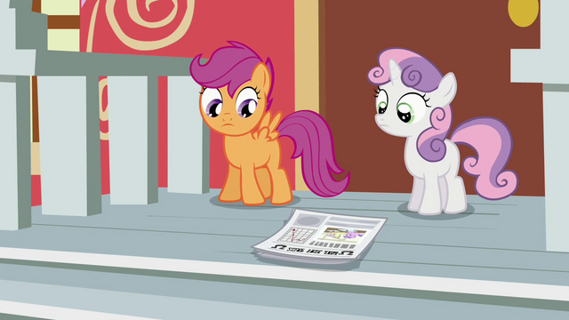 File:Scootaloo and Sweetie Belle looking at the paper S02E23.png