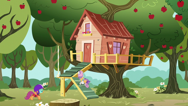 File:Sweetie Belle and Scootaloo return to the clubhouse S6E4.png
