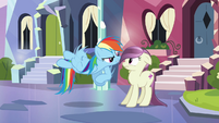 Rainbow Dash nudging local pony S3E1