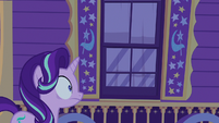 Starlight Glimmer stunned outside Trixie's wagon S6E25