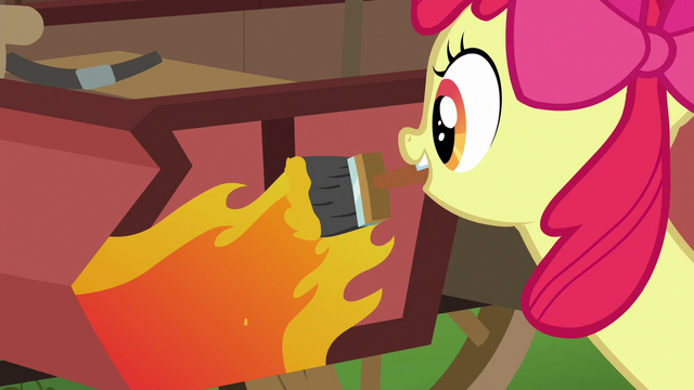 File:Apple Bloom paints flames on the cart S6E14.png