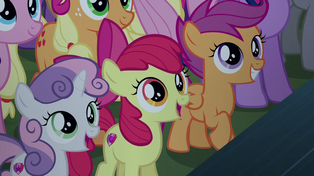 File:Cutie Mark Crusaders pleasantly surprised S5E24.png
