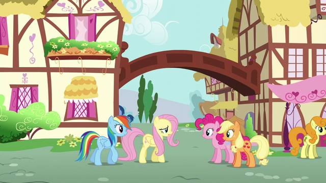 File:Fluttershy and Rainbow greet Pinkie and Applejack S6E11.png