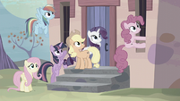 Mane Six hear village ponies whistle S5E2
