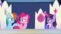 Rainbow and Pinkie Pie hoof-bump S6E15