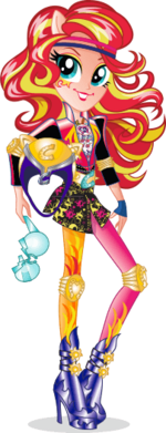 Sunset Shimmer Friendship Games bio art