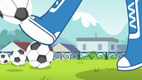 Rainbow Dash kicking a soccer ball EG