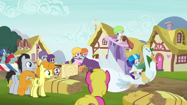 File:Rarity's swan cart drawing attention S6E14.png
