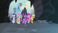 Mane six walking through a cavernous area S5E1