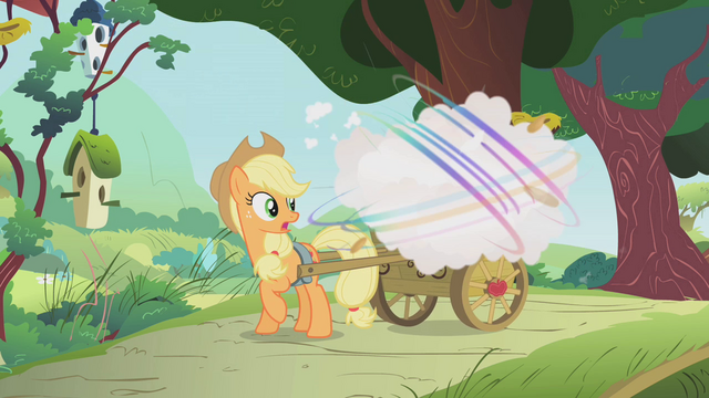 File:Parasprites eating Applejack's apples S1E10.png
