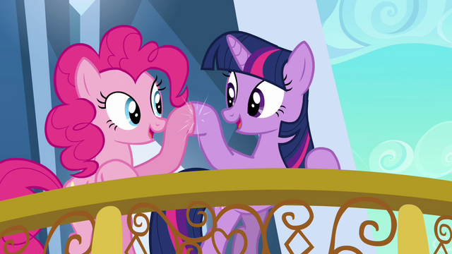 File:Pinkie Pie and Twilight brohoof S3E1.png