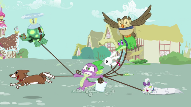 File:The pets drag Spike across town S03E11.png