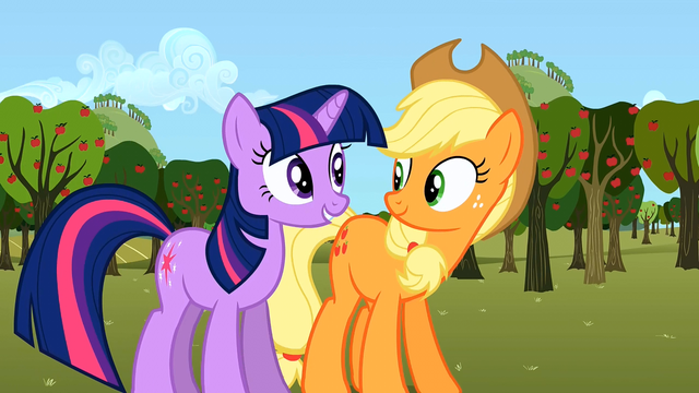 File:Twilight Applejack happy S02E15.png