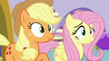 AJ and Fluttershy hear Pinkie S5E14.png