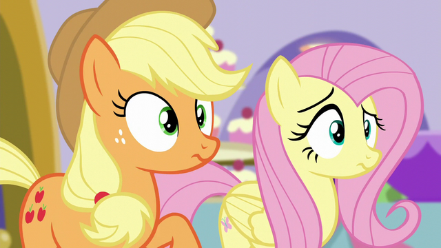 File:AJ and Fluttershy hear Pinkie S5E14.png