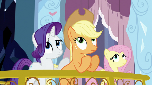 File:Ponies looking up at Spike S3E2.png