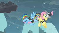 Rainbow Dash pushing Fluttershy S2E11