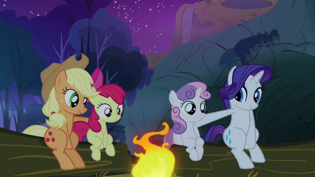 File:Sweetie Belle and Apple Bloom sat with their sisters S3E6.png