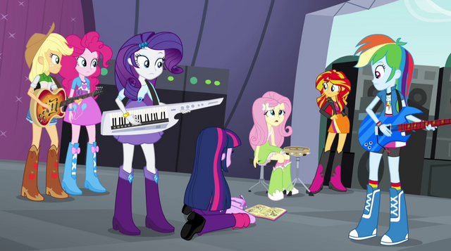 "File:Fluttershy ""we're the ones that made it to the finals?"" EG2.png"